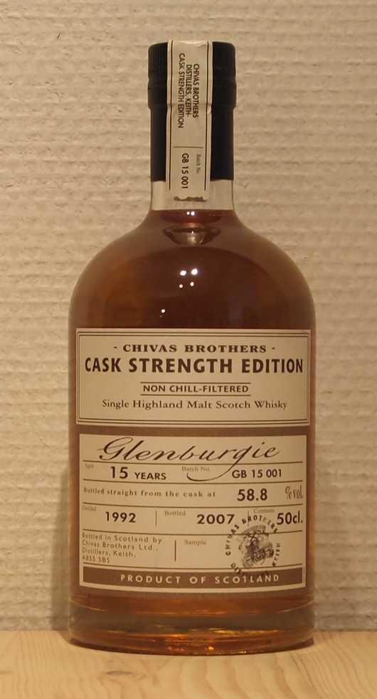 Single Malt Whisky Glenburgie 15yo, Chivas Brothers Cask Strength Edition, GB 15001