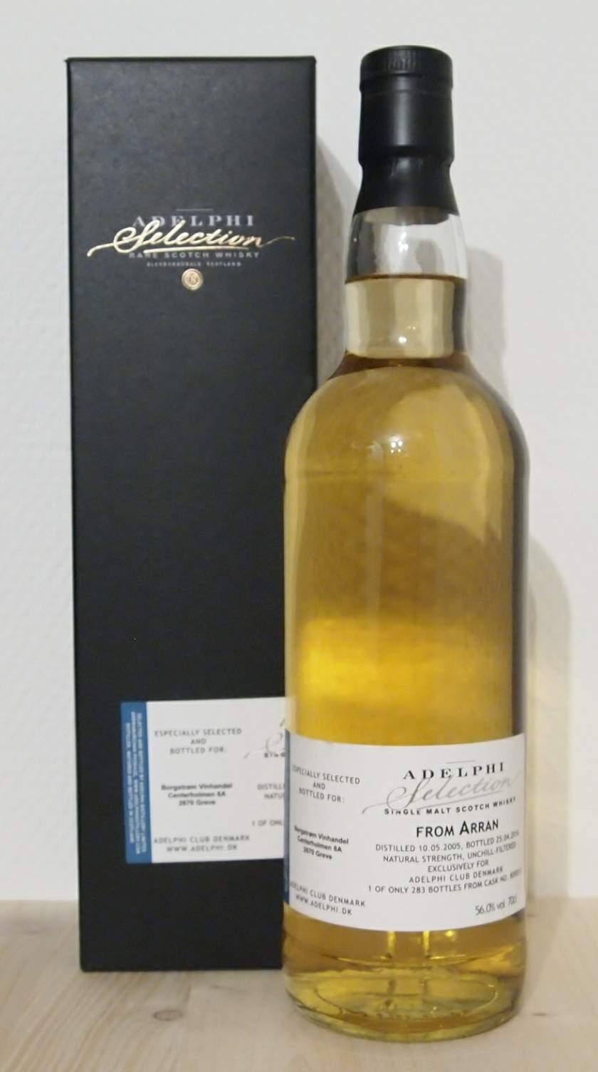 Single Malt Whisky Arran 10yo, Adelphi Club Denmark, Cask 800013, 2005