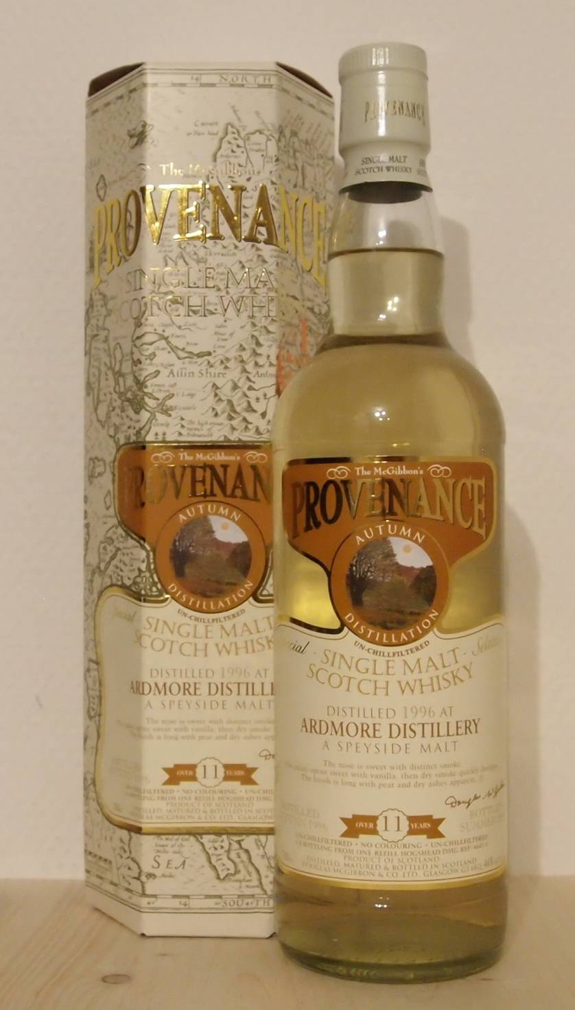 Single Malt Whisky Ardmore 11yo, Provenance, Cask 4645, 1996